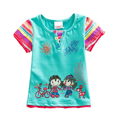 b550c1a95 VIKITA 2017 Kids Girls Cotton Cartoon Short Sleeve T-Shirt Clothes G6121  Green 5-