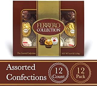 Ferrero Rocher Fine Hazelnut Milk Chocolates, 12 Count, Pack of 12 Individually Wrapped Assorted Coconut Candy and Chocolate Gift Boxes, 4.6 oz