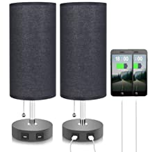 Black Lamps for Bedrooms Set of 2, Seealle Black Table Lamps with Dual USB Ports, Bedside Nightstand Desk Lamps for Bedroo...