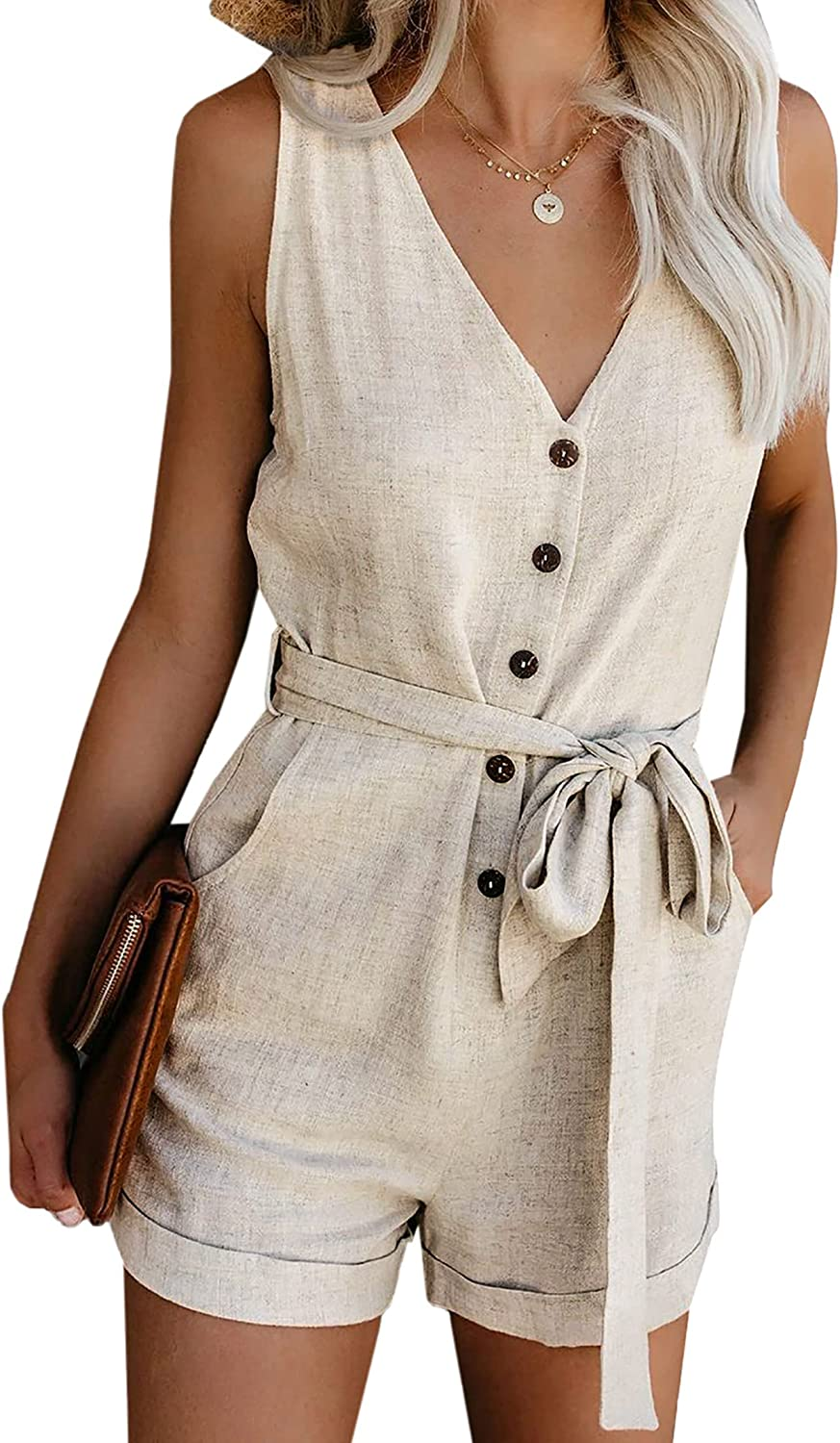 Actloe Popular popular Direct stock discount Rompers for Women Casual Summer Down Tank Button Romper C