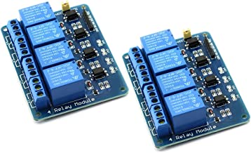 DZS Elec 2-Pack 5V 4-Channel Relay Module with Optocoupler Active Low Level Amplifier Trigger JD-VCC Relay Power VCC Power