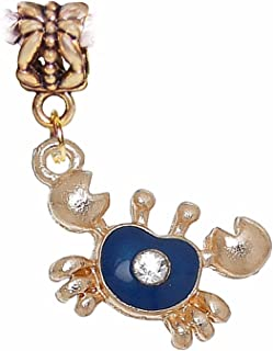 Crab Blue Enamel Gold Tone Beach Zodiac Cancer Dangle Charm for Euro Bracelets Crafting Key Chain Bracelet Necklace Jewelry Accessories Pendants