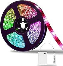 LED strip 2m, SOLMORE LED stripe batterij 5050 RGB lichtbalk kleur veranderende lichtband dimbaar waterdicht IP65 voor fee...