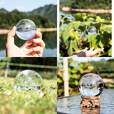 3D Crystal Ball Inner Carved Dragon Design Paperweight Ornament Sphere for Birthday Gift With Wooden Base(60mm)
