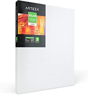 "Arteza 30x40"" Stretched White Blank Canvas, Bulk Pack of 5, Primed, 100% Cotton for Painting, Acrylic Pouring, Oil Paint & Wet Art Media, Canvases for Professional Artist, Hobby Painters & Beginner"