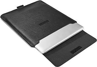 Supgear 13-13,3 Zoll Laptop Hülle mit Stand-Funktion, Slim PU Leder Tasche Schutzhülle mit Zubehörtasche for 2018-2020 New MacBook Air 13/MacBook Pro 13 2016-2020/Surface Pro 7 6 5 4 Schwarz