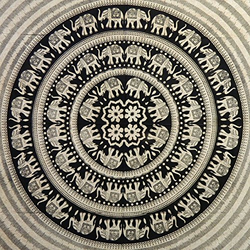 Handicrunch Tagesdecke schwarz weiß 230 x 210 cm indische Decke Elefantendesign Tischdecke Wandbehang Baumwolle