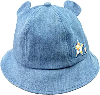 Van Caro Toddler Boys Girls Cute Denim Jean Cloth Bucket Hat with Chin Strap for Spring Fall