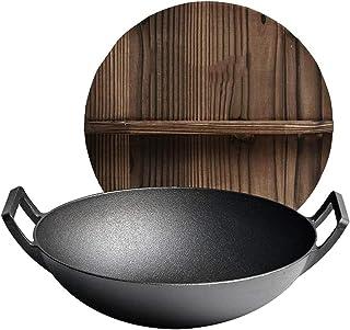 Wok Poêle antiadhésive, marteau en acier lourd, acier au carbone en fonte double oreille wok rond fond inférieur Poêle ant...