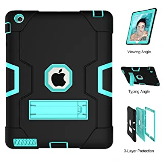 iPad 2 Case, iPad 3 Case, iPad 4 Case, UZER Heavy Duty Shockproof Anti-Slip Silicone High Impact Resistant Hybrid Three Layer Armor Protective Case Cover with Kickstand for iPad 2/3/4