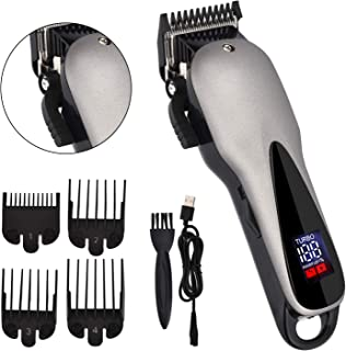 Professional Hair Clippers, WLWQ Rechargeable Cordless Hair Trimmer Electric Shaving Machine Razor Barber Cutting Beard Trimmer Haircut Set with LED Display