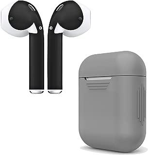 AirPod Skins & Charging Case Cover - 硅胶保护套和时尚包装袋适用于 Apple AirPodsGREYCASE_4BK02 Grey Case & Matte Black Skin