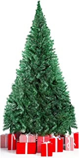 LEHOM Christmas Trees Unlit Artificial 6 Feet Premium Hinged Spruce Full Tree with Solid Metal Stand (900 Tips)