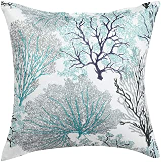 uxcell Throw Pillow Covers Cases Modern Coral Coastal Beach House Home Decor Linen Cushion Cover for Couch Sofa 18 X 18 Inch, M