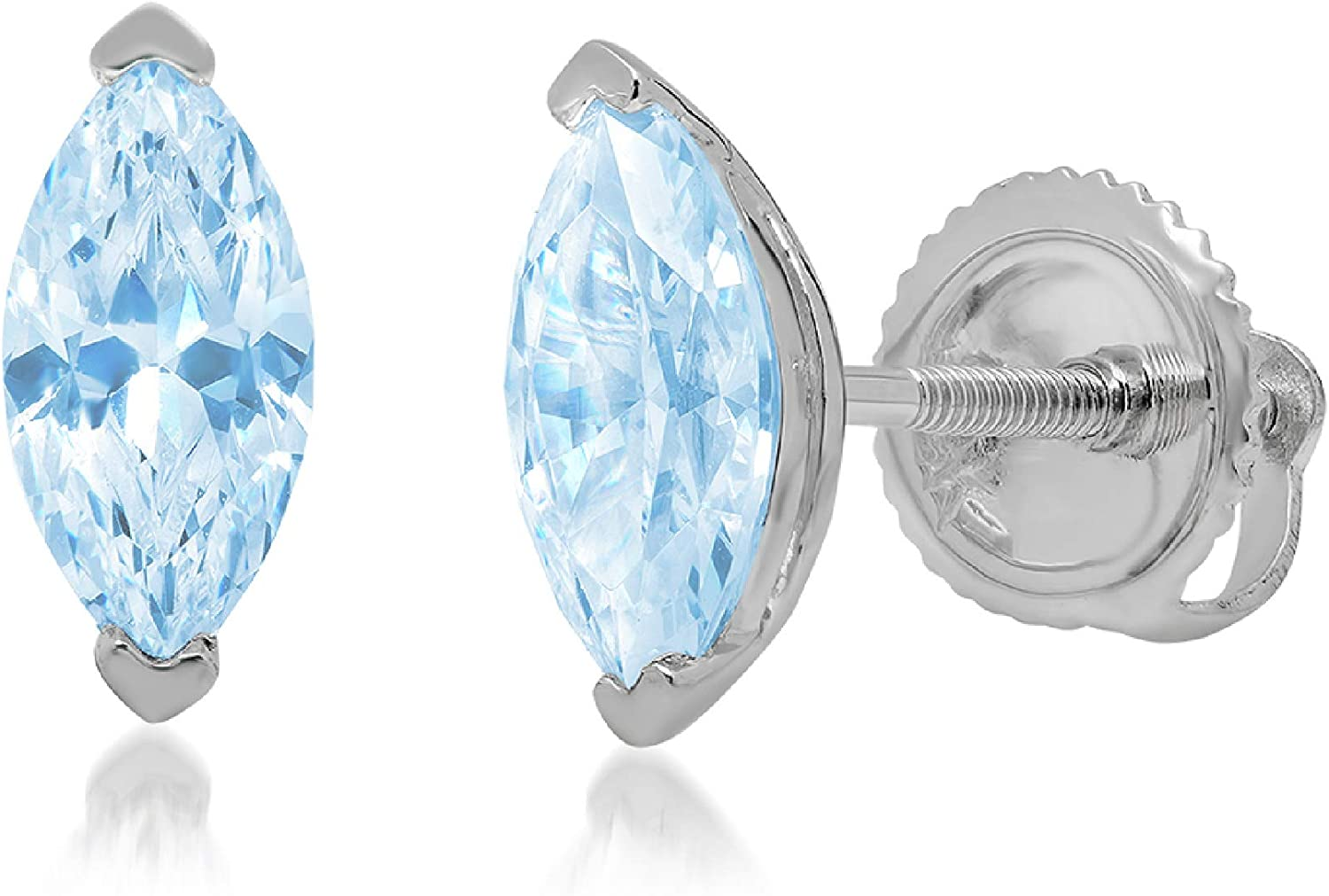 0.9ct Marquise Cut Solitaire Aquamarine Blue Simulated Diamond CZ Unisex Designer Stud Earrings Solid 14k White Gold Screw Back conflict free Jewelry