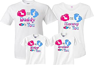 Pink Blue Gender Reveal Pregnant Expected Baby Family Funny Matching Cute T-Shirts
