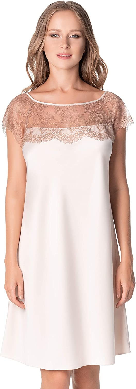 De La Ville Women's Ibiza Shiny Satin Romantic Gown Luxury Sleepshirt with Transparent Lace Shoulders