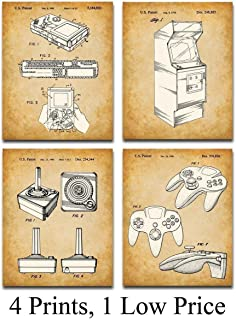 Original Video Games Patent Art Prints - Set of Four Photos (8x10) Unframed - Makes a Great Gift Under $20 for Game Room Decor