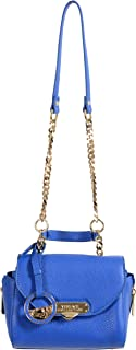 Versace Collection Women's Blue Pebbled Leather Handbag Shoulder Bag