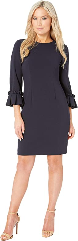 Petite 3/4 Sleeve Crepe Sheath with Sleeve Detail