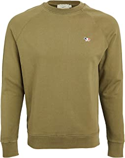 Maison Kitsune Men's Crew Neck Sweatshirt with Tricolor Fox Patch