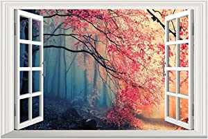DNVEN 24 inches x 16 inches 3D Full Color High Definition Dark and Light Nature Forests Scenery False Faux Window Frame Window Mural Vinyl Bedroom Living Room Playroom Wall Decals Stickers