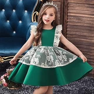 Luxury Glossy Princess Dress Girls Princess Tutu Dress Child Catwalk Girls Lotus Leaf Butterfly Costumes Christmas Day ryq (Color : Green, Size : 120cm)