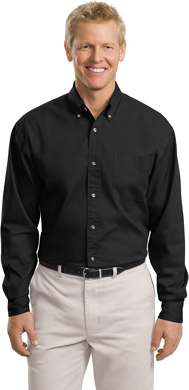 Port Authority Tall Long Sleeve Twill Shirt, Black, XXX-Large Tall