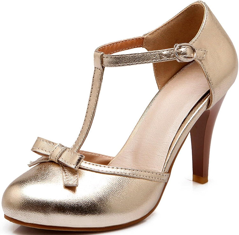 DoraTasia Women's Lolita shoes Vintage Sweet T Strap Bows Platform High Heel Pumps shoes