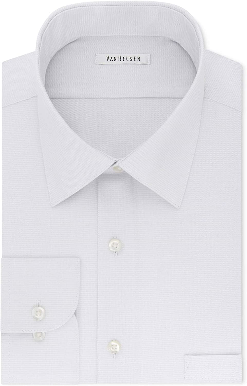 Van Heusen Mens Micro Button Up Dress Shirt , White , 16