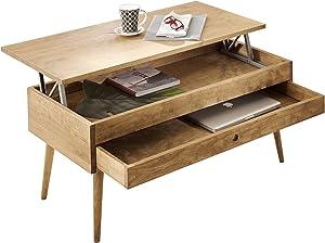 hogar24-mesa de Centre relevable avec tiroir Coulissant Vintage, Bois Massif Naturel. 100cm x 50cm x 47cm