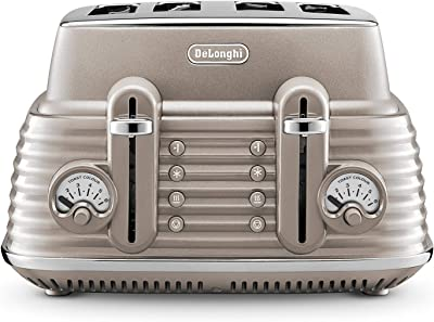 De'Longhi Scolpito 4 slot toaster, reheat, defrost, one-side bagel & 6 browning settings, Stainless steel, CTZS4003.BG, Clay beige