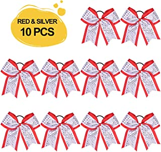 Large Glitter Cheer Bows Girls Red Silver White Ponytail Holders 7