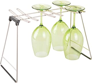 InterDesign Classico Glass Drying Rack for 6 Glasses, Grey - 9.5H x 15.75W x 7.5D inches