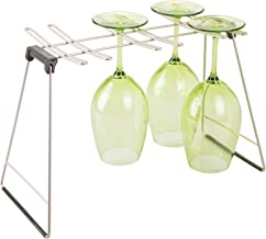 Interdesign Classico Glass Drying Rack for 6 Glasses, Grey - 9.5H X 15.75W X 7.5D in ches