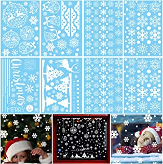 VIIRY 275 Pcs Christmas Window Clings Decal Stickers Ornaments for Christmas Snowflakes/Bells/Trees/Reindeer Decoration Frozen Theme Party New Year Supplies(8 Sheets)