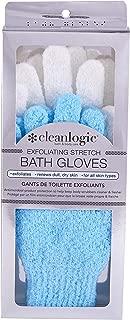 Cleanlogic Exfoliating Stretch Bath & Shower Gloves, Blue & White (2 Pair)