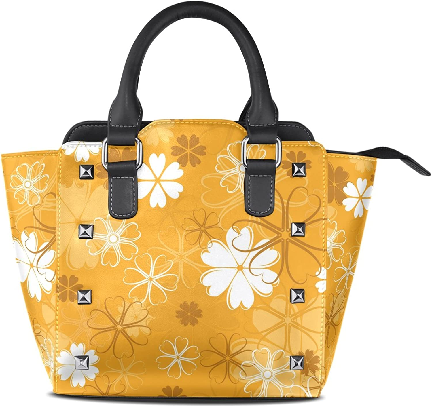 Sunlome Flower Yellow Print Women's Leather Tote Shoulder Bags Handbags