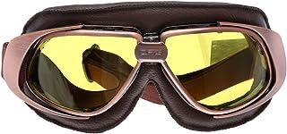 Retro Vintage Sonnenbrille Schutzbrille Pilot Motorrad Sport für Harley   Gelb Glas