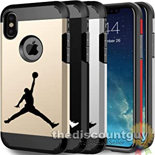 iPhone 7 Plus - Resistant Two Layer TPU & PC Jordan Case + Full Drop Protection feat. Slim Thin Hard Soft Dual Shell Basketball Design Cover (Black & Red)