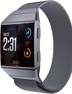 Aiiko Compatible with Fitbit Ionic Bands,  Metal Stainless Steel Large Size Strap, Comfortable Adjustable Closure Wrist Sport Band Replacement for Fitbit Ionic Smart Watch - Gray-L