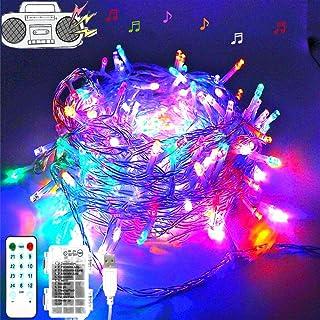 Cadena de luces LED para árbol de Navidad, tira musical 100 LED electrica y con pilas, LED cortina de luces 10m, 12 modos, luces para fiestas, bodas, halloween, decoración(luces de colores)