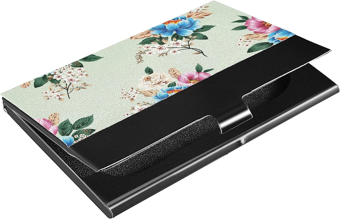 OTVEE Blue Pink Flowers Business Card Holder Wallet Stainless Steel & Leather Pocket Business Card Case Organizer Slim Name Card ID Card Holders Credit Card Wallet Carrier Purse for Women Men