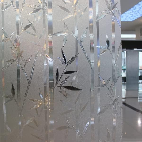 Leyden 24 By 72 Inch Cut Glass Bamboo Leaf No Glue 3D Static Decorative Glass Window Films