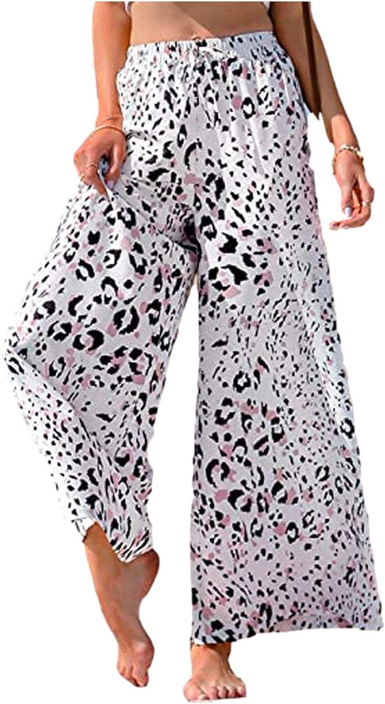Cbcbtwo Womens Fashion Casual Printed High Elastic Waist Wide Leg Palazzo Pants Summer Loose Vacation Long Pants
