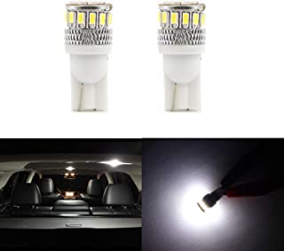 2pcs T10 Wedge 194 168 175 2825 W5W Dome Lights LED Bulb for License Plate Tag Light 6000K White 4014 18-SMD Xtremely Super Bright