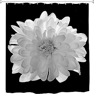 BROSHAN Black and White Flower Fabric Shower Curtain,Modern Floral Spring Summer Nature Scene Retro Bath Curtain Art Print,Polyester Waterproof Bathroom Decor Set with Hooks,72x72 Inch