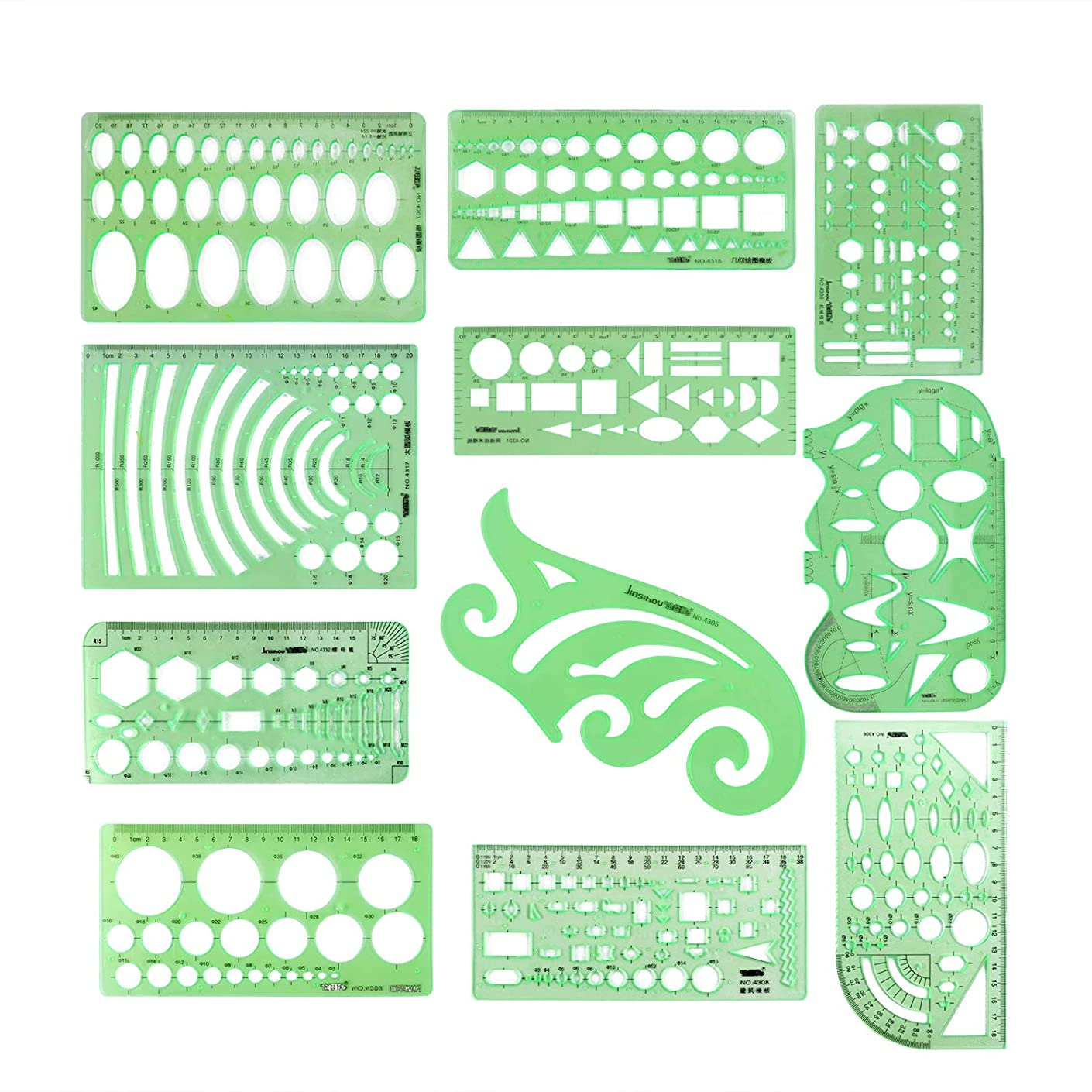 11pcs Drawing Template Ruler Stencils Tool Include Architectural Ruler,French Curve Template,Circle Template,Geometric Stencil Plastic Rule for School Studying and Office Design