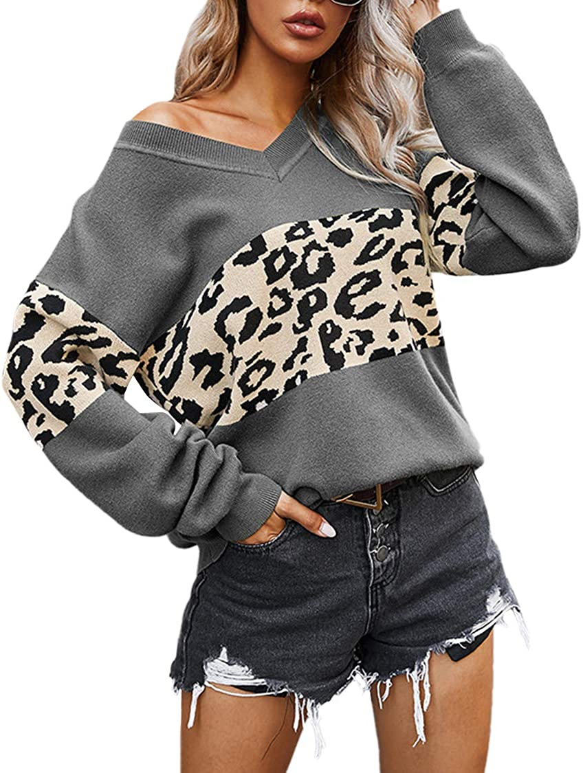 Women's Sexy Off Shoulder V Neck Leopard Printed Patchwork Loose Sweater Knitted Pullover Jumper Top