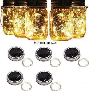 Luci Solari Da Esterno, Confezione Da 5 Pezzi Per Barattolo Di Vetro Solare 20 Perline Lampada A Led 3M Filo Di Rame Imper...